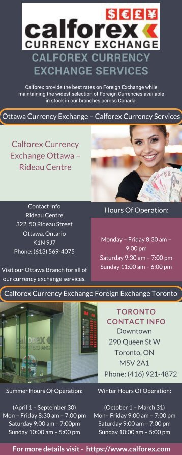 Calforex Currency Exchange Services Ottawa and Toronto Services