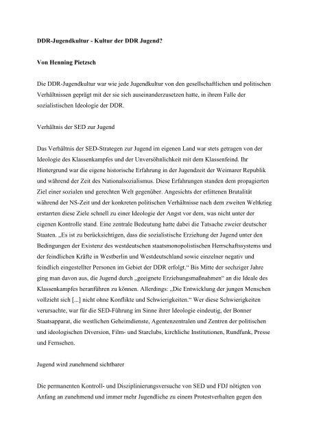 Dr. Henning Pietzsch: DDR-Jugendkultur - Geschichtswerkstatt Jena ...