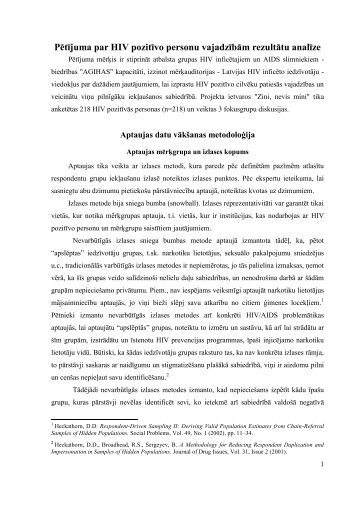 Pētījuma par HIV pozitīvo personu vajadzībām rezultātu analīze