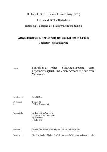 Abschlussarbeit zur Erlangung des akademischen Grades Bachelor ...