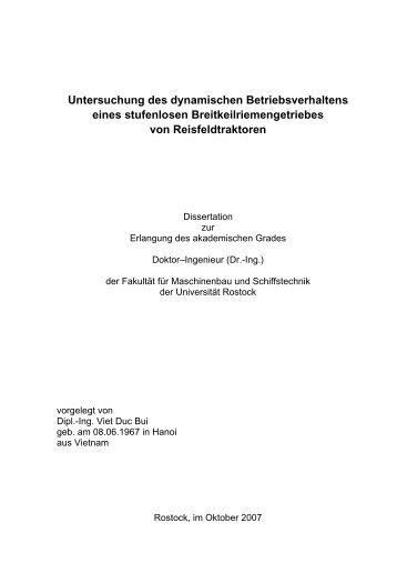 Untersuchung des dynamischen Betriebsverhaltens eines ...