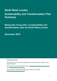 North West London Sustainability and Transformation Plan Summary