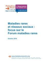 Maladies rares et réseaux sociaux  focus sur le Forum maladies rares