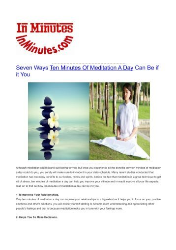 Seven Ways Ten Minutes Of Meditation A Day Can Be if it You