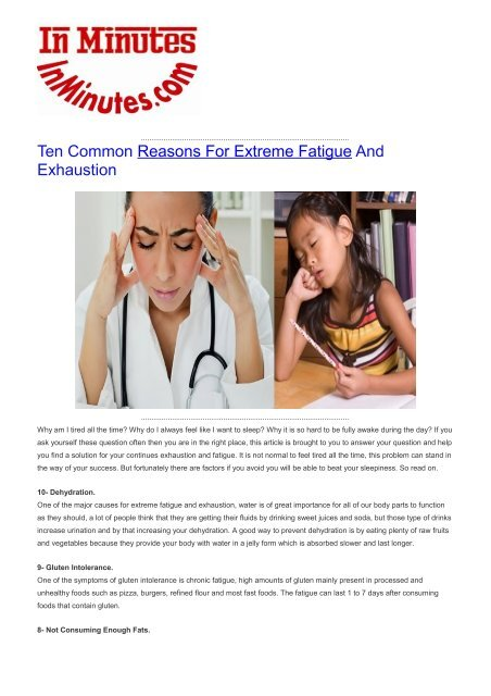 Ten Common Reasons For Extreme Fatigue And Exhaustion