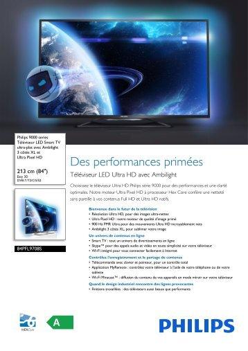 Philips 9000 series Téléviseur LED Smart TV ultra-plat - Fiche Produit - FRA