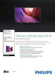 Philips 4900 series Téléviseur LED plat UHD 4K - Fiche Produit - FRA