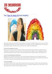Ten Tips To Stay Fit And Healthy