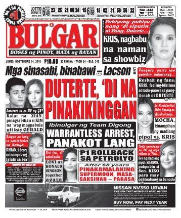 November 14, 2016 BULGAR: BOSES NG PINOY, MATA NG BAYAN