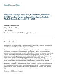 Singapore Meetings, Incentives, Conventions, Exhibitions (MICE) Tourism Market & Forecast 2016 – 2021
