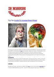 Top Ten Foods To Increase Brain Power