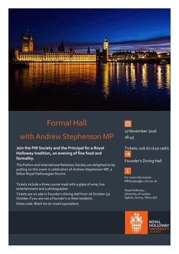Formal Hall with Alumni Andrew Stephenson MP - 17 Nov