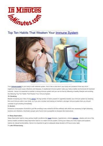 Top Ten Habits That Weaken Your Immune System