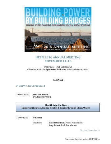 HEFN 2016 ANNUAL MEETING NOVEMBER 14-16