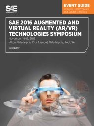 SAE 2016 AUGMENTED AND VIRTUAL REALITY (AR/VR) TECHNOLOGIES SYMPOSIUM