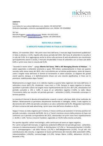 NOTA PER LA STAMPA IL MERCATO PUBBLICITARIO IN ITALIA A SETTEMBRE 2016
