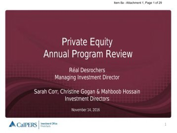 Private Equity Annual Program Review