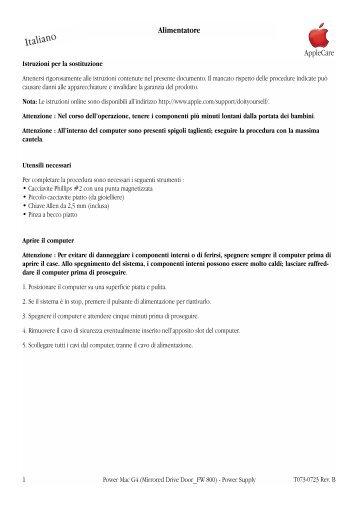 Apple Power Mac G4 (Porta unità in mirroring, FireWire 800) - Alimentatore - Istruzioni per la sostituzione - Power Mac G4 (Porta unità in mirroring, FireWire 800) - Alimentatore - Istruzioni per la sostituzione