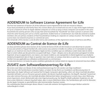 Apple MacBook Pro (15 pollici, Fine 2008) - ADDENDUM al contratto di licenza d'uso del software per iLife - MacBook Pro (15 pollici, Fine 2008) - ADDENDUM al contratto di licenza d'uso del software per iLife