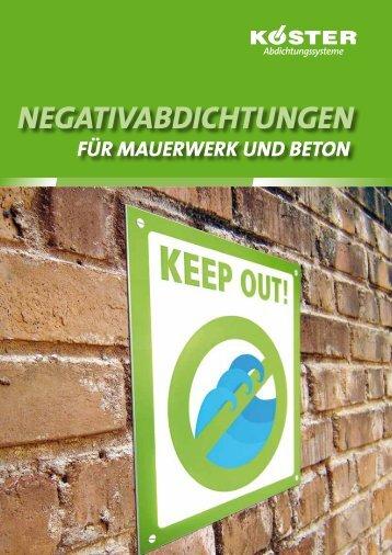 Negativabdichtungen für Mauerwerk und Beton - Köster Bauchemie ...
