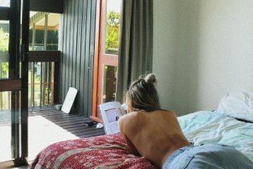 reading topless