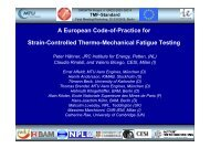 A European Code-of-Practice for Strain-Controlled ... - TMF-Workshop