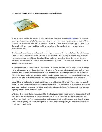 An excellent Answer to All of your Issues Concerning Credit Cards