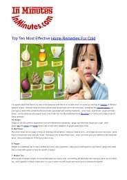 Top Ten Most Effective Home Remedies For Cold