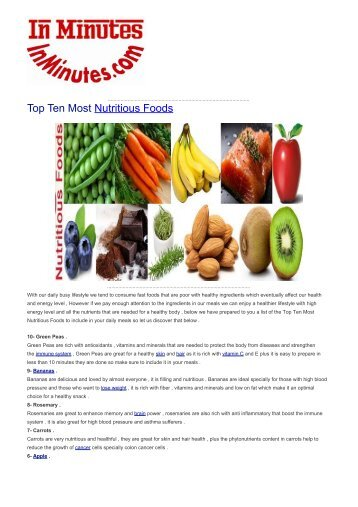 Top Ten Most Nutritious Foods
