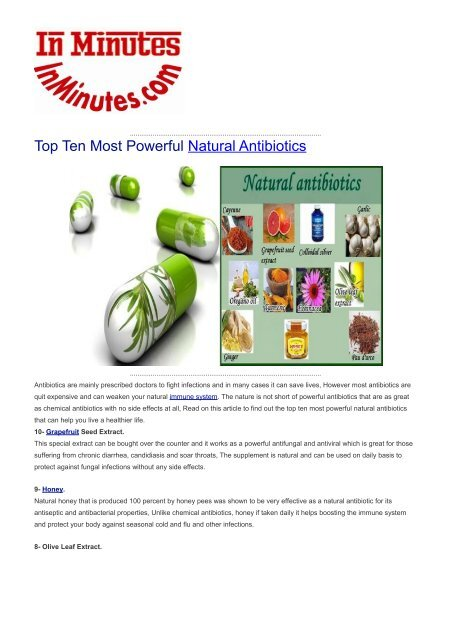 Top Ten Most Powerful Natural Antibiotics