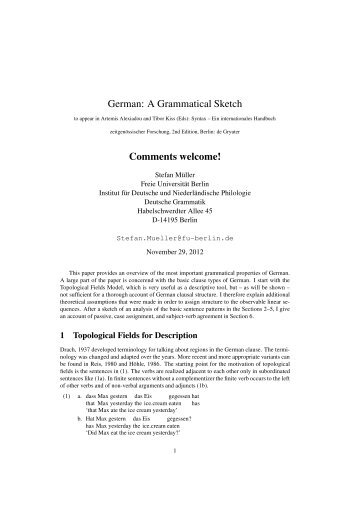 Comments welcome! - German Grammar Group FU Berlin - Freie ...