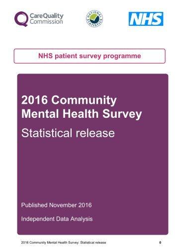 Mental Health Survey Statistical release