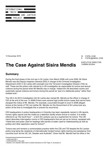 The Case Against Sisira Mendis