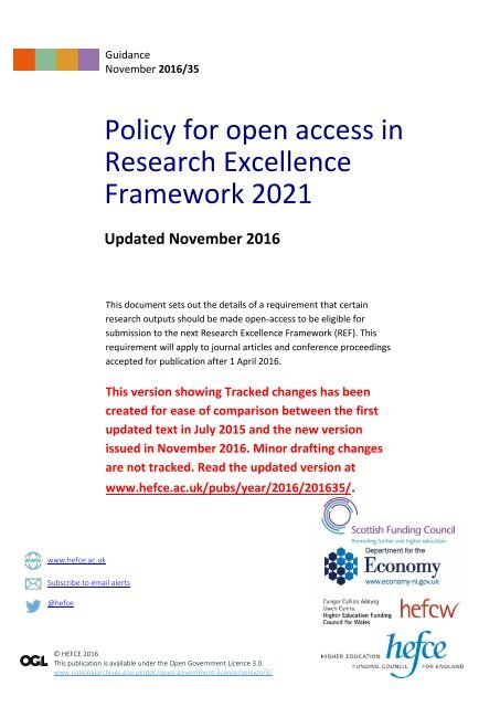 Policy for open access in Research Excellence Framework 2021