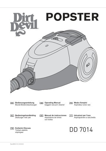 Dirt Devil POPSTER Splash - Bedienungsanleitung Dirt Devil POPSTER DD7014