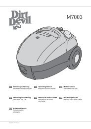 Dirt Devil M7003-3 - Bedienungsanleitung für den Dirt Devil M7003-1, -2, -3