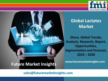 Lactates Market Volume Forecast and Value Chain Analysis 2016-2026