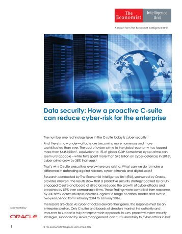Data security How a proactive C-suite can reduce cyber-risk for the enterprise