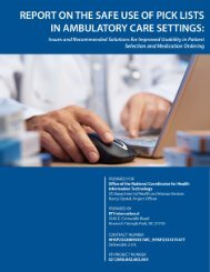 Report on the Safe Use of Pick Lists in Ambulatory Care Settings