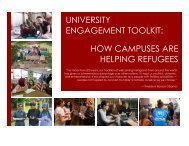 UNIVERSITY ENGAGEMENT TOOLKIT HOW CAMPUSES ARE HELPING REFUGEES