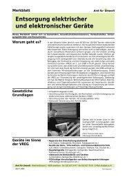 Entsorgung elektrischer und elektronischer Geräte Merkblatt
