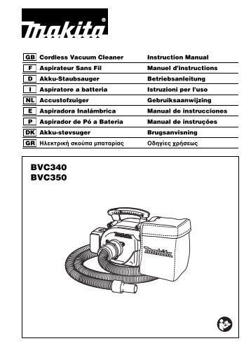 Makita ASPIRATORE SOFFIATORE - BVC350Z - Manuale Istruzioni