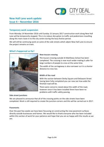 New Hall Lane work update Issue 4 – November 2016