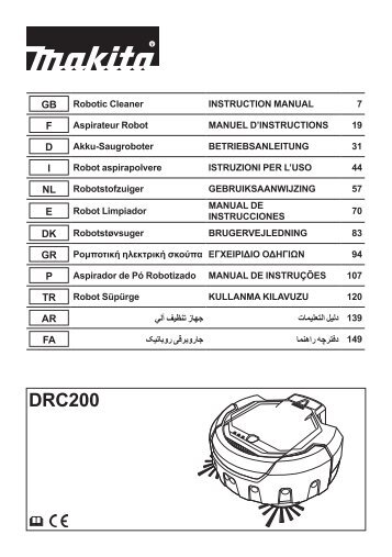 Makita ROBOT PULITORE 18V - DRC200 - Manuale Istruzioni