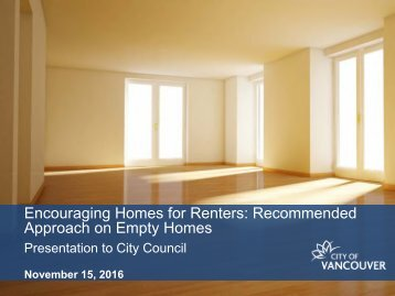 Encouraging Homes for Renters Recommended Approach on Empty Homes