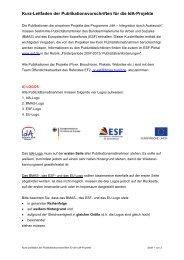 Kurz-Leitfaden der Publikationsvorschriften für die IdA-Projekte