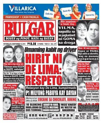 November 16, 2016 BULGAR: BOSES NG PINOY, MATA NG BAYAN