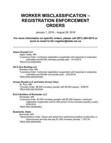 WORKER MISCLASSIFICATION – REGISTRATION ENFORCEMENT ORDERS