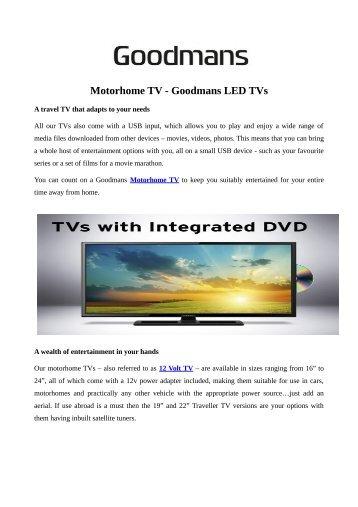 Motorhome TV - Goodmans LED TVs