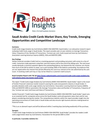 Saudi Arabia Credit Cards Market Size, Key Trends, Emerging Opportunities, Strategies, Drivers, Outlook and Competitive Landscape
